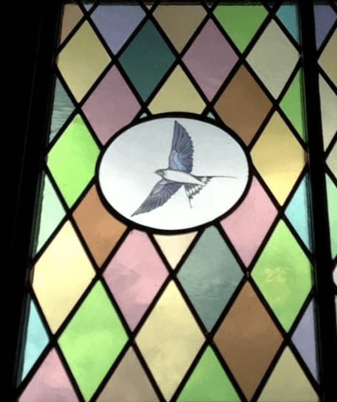 zwaluw in glas in lood, petruskerk te wapenveld